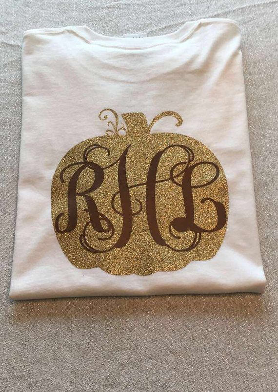 Fall Monogram Pumpkin T-Shirt Monogram by YoungSouthernMess