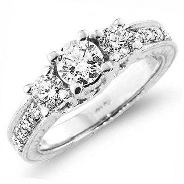 18K  3 Stenen Ronde Diamant Trouwring / Verlovingsring