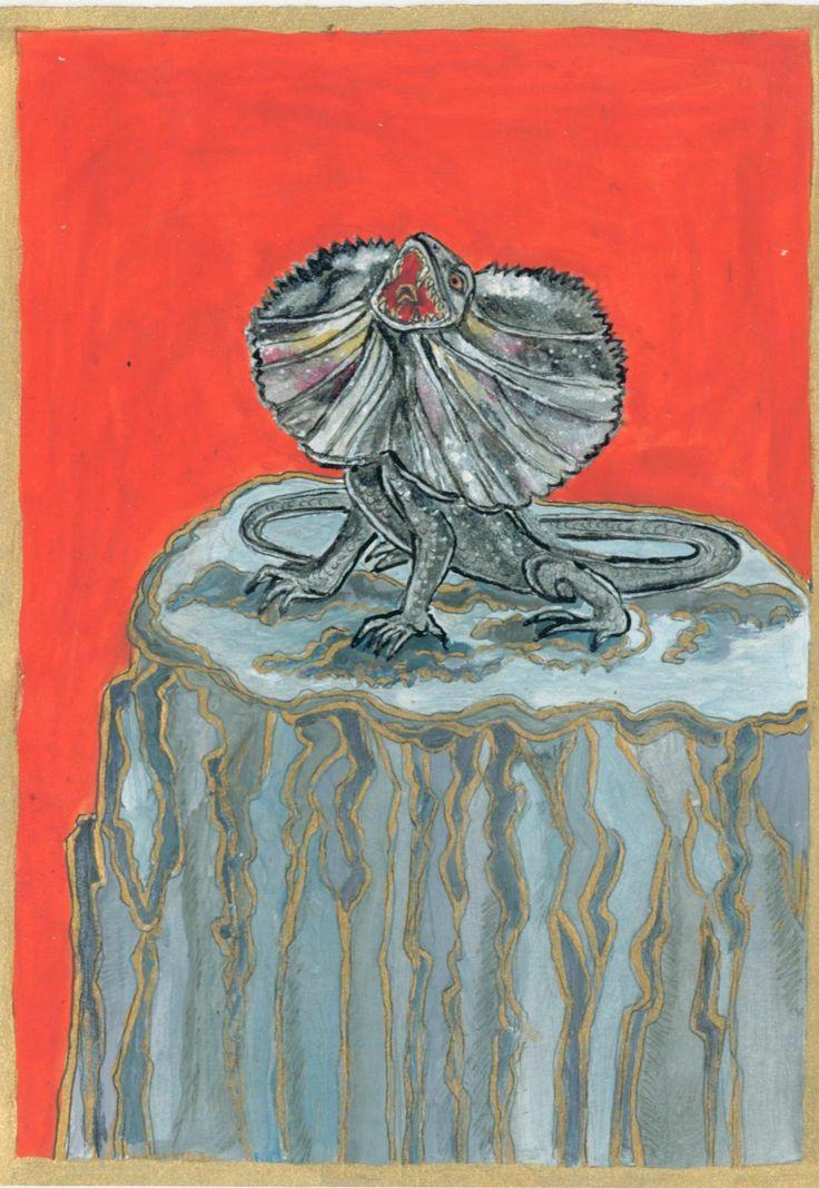 Galléros gyík, 2011 január. Szintén álomszereplő, részben élőlény volt, részben kő.