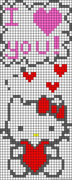 Hello Kitty I love you perler bead pattern