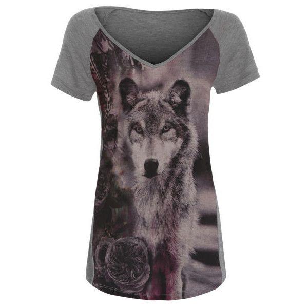 Damned Delux Women's Sublimination T-Shirt (20 CAD) ❤ liked on Polyvore featuring tops, t-shirts, shirts, t shirts, grey, raglan tee, print shirts, gray v neck t shirt and v neck shirts