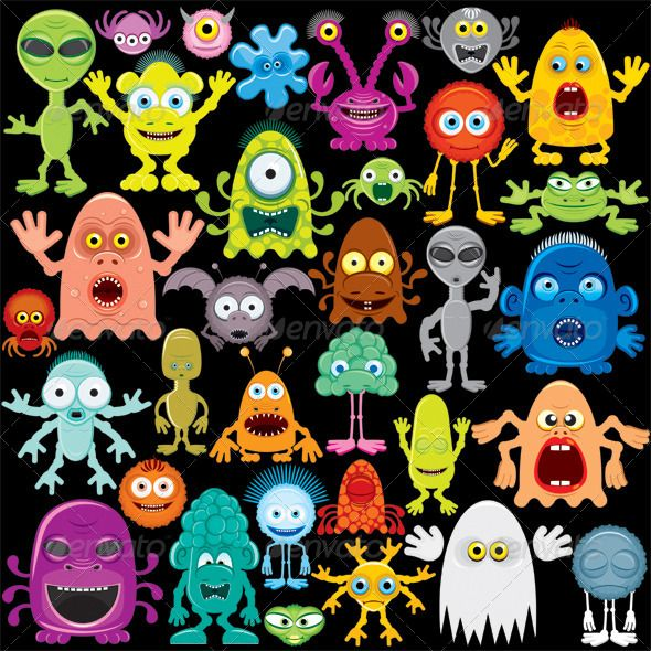 Cartoon Monster, Mutants and Aliens  #GraphicRiver         Cartoon Vector Monster, Mutants, Aliens  	 Pack Contains:
