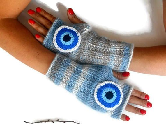 Blue Women Glove, Fingerless Knitted Glove, Hand knitted Glove, Handmade Glove, Knitted Wrist Heater, Wool Fingerless Glove, crochet Glove    Positive energy gloves.  100% handmade.  Colorful baby thread.  Made from soft spun yarn.  The glove was an eye motif.  It seems to protect you from bad energy.  Boho-style gloves.  You can wear these arm warmers with any clothes.  These handheld heaters are soft and comfortable.  It will add elegance to your hand.  Color: Blue tones, white, brown…