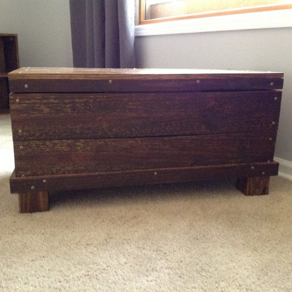 Wood trunk chest coffee table storage