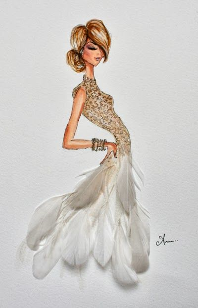 illustrations by anum: white feather dress