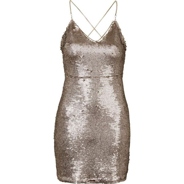 TOPSHOP PETITE Brushed Sequin Dress ($160) ❤ liked on Polyvore featuring dresses, short dresses, bronze, petite, mini dress, sequin dress, petite cocktail dress, short party dresses and brown cocktail dress