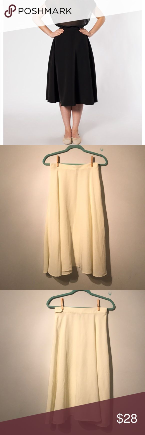 American Apparel mid-length circle Skirt American Apparel mid-length circle Skirt Fabric: Silk  Color: Pearl  Size: M  Perfect conditions First pictures shows up the same skirt in different color, I couldn't find one of the same color to upload. American Apparel Skirts Midi