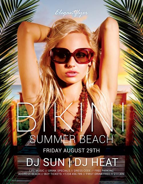 "Plantilla gratis PSD ""Bikini Summer Beach"""