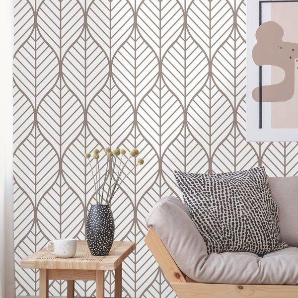 Removable Wallpaper Peel And Stick Geometric Wallpaper Self Adhesive Geometric Leaves Vintage Wallpaper Removable Wallpaper Geometric Wallpaper Leaf Wallpaper