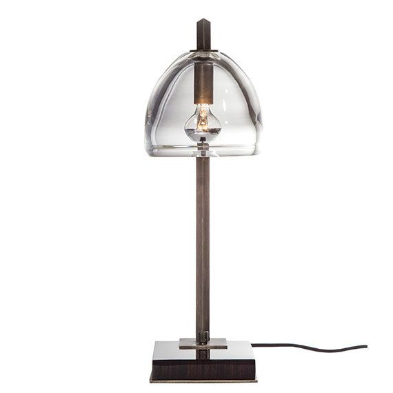 """Montecito Table Lamp - Dering Hall Product Description  The """"Montecito"""" Table Lamp, is hand-crafted in Souther California.  finish shown in Macassor Ebony available in all standard finishes  details UL Listed hand blown glass shade hexagonal metal arm with metal dimmer wood base with metal detail cloth cord Lighting: (1) Candelabra 25W, G9, 120V, 25W  Weight: allow 20 lbs"""