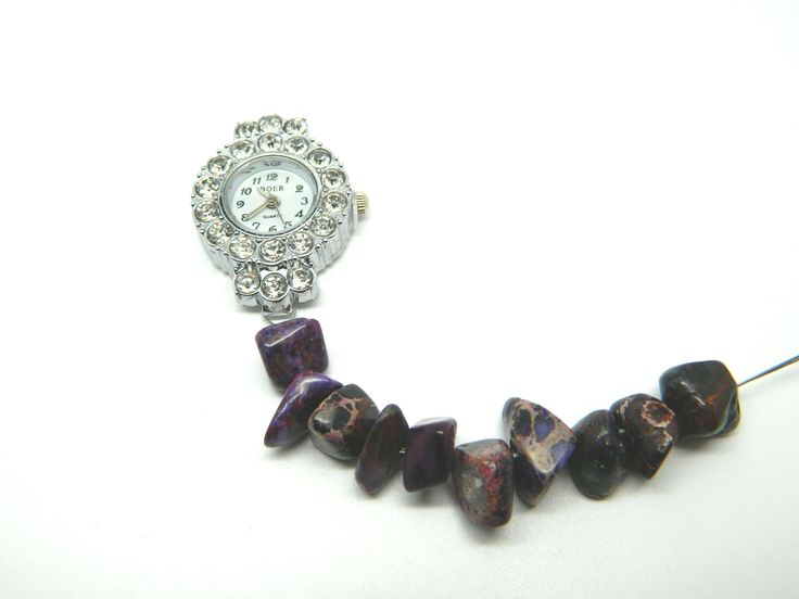 Purple impression jasper bead rhinestone bracelet watch in progress.  I just need to finish the other side and put a clasp on.
