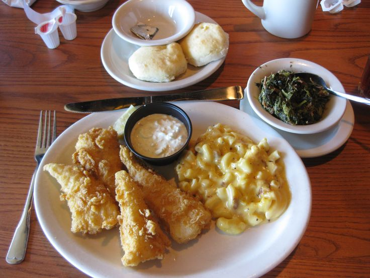The delicious fried cod available on Fridays at Cracker Barrel. Macaroni & cheese, turnip greens and sweet tea perfectly round out the meal. I love to eat out on Fridays - a lot!