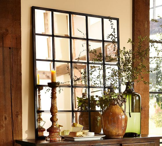 I can hang two of these side by side in  my kitchen! PERFECT!!! Make it look like there are windows but there are not! Eagan Multipanel Large Mirror | Pottery Barn