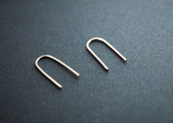 Arch earrings. U shaped earrings. Minimalist loop gold earrings. Modern ring earrings. Gold filled creole earrings. pease