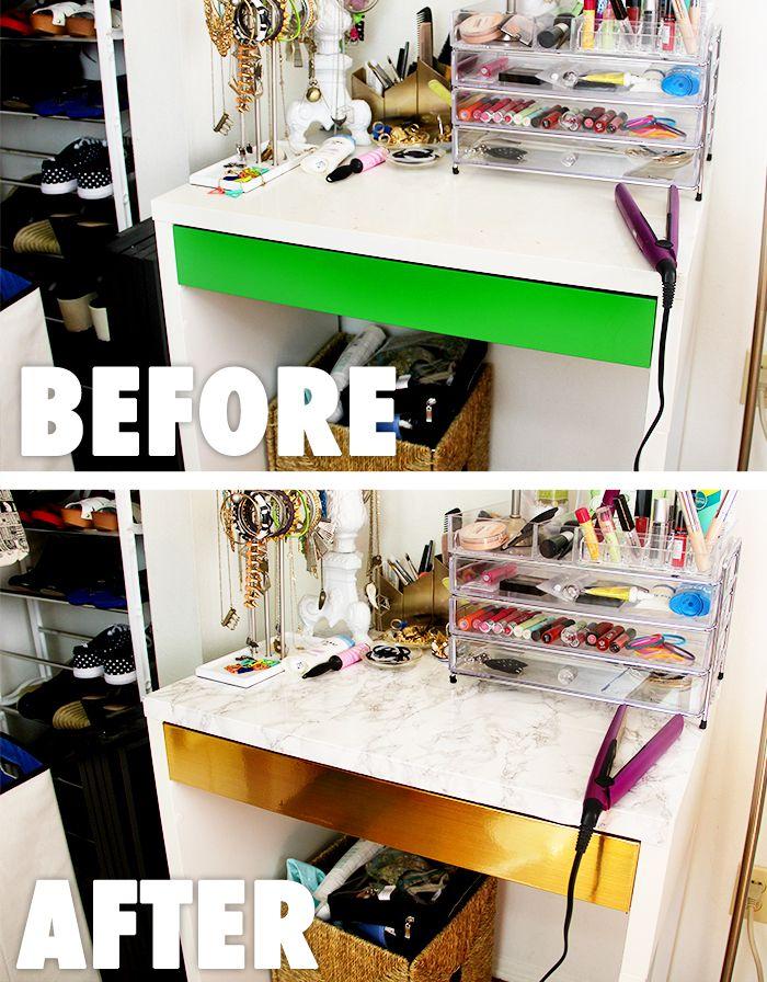 Diy Ikea Desk Makeover Easy Cute Contact Paper Desk Upgrade Diy