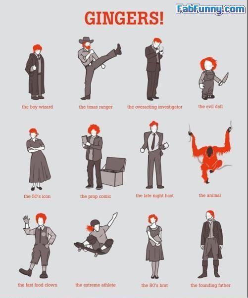 Infographic over (beroemde) roodharigen oftewel Gingers.