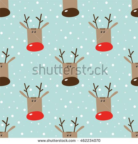 Seamless winter holidays pattern with funny cartoon deers on snowy light turquoise background. Vector illustration. Design for fabric and decoration. #mrs_nag #christmas #pattern #background #seamless #xmas #holidays #illustration
