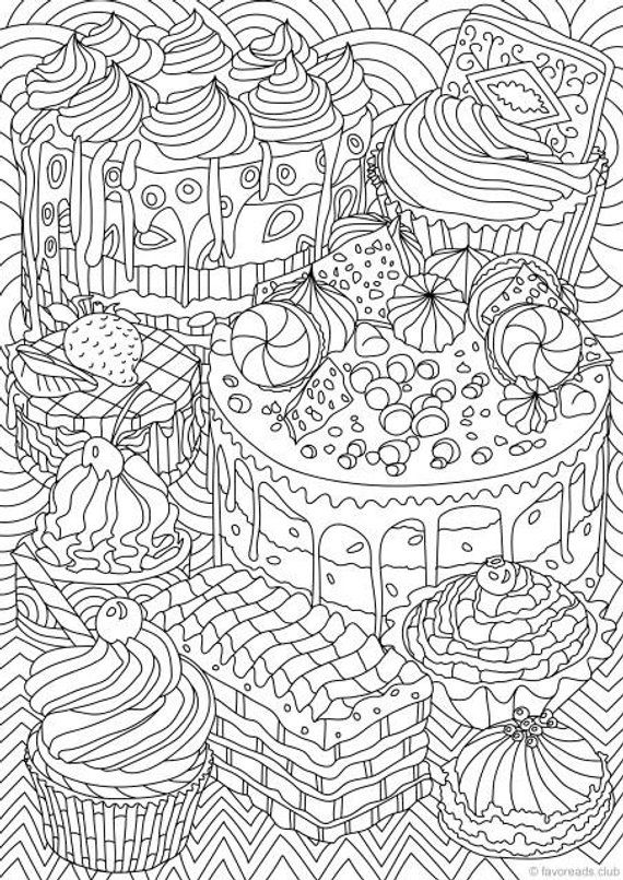 Sweet Treats - Printable Adult Coloring Page from ...
