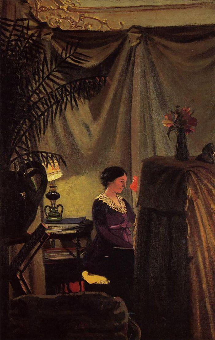 Gabrielle Vallotton at the Piano by Felix Vallotton #art
