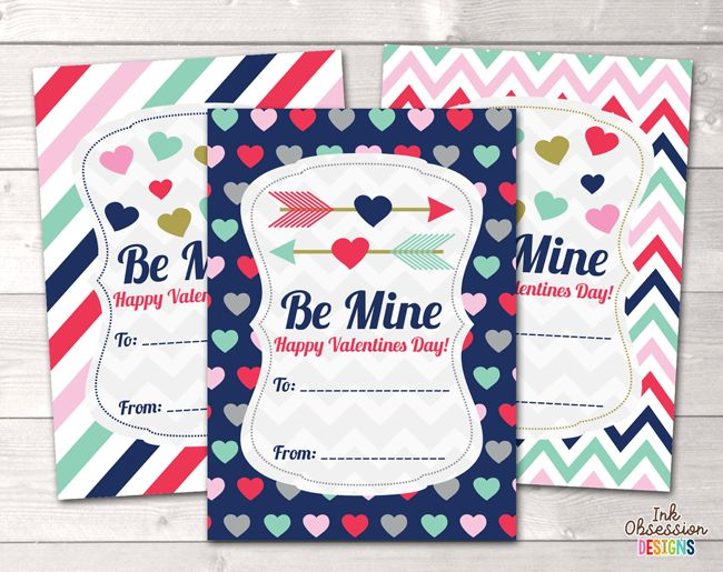 Be Mine Printable Valentines Day Cards – Erin Bradley/Ink Obsession Designs