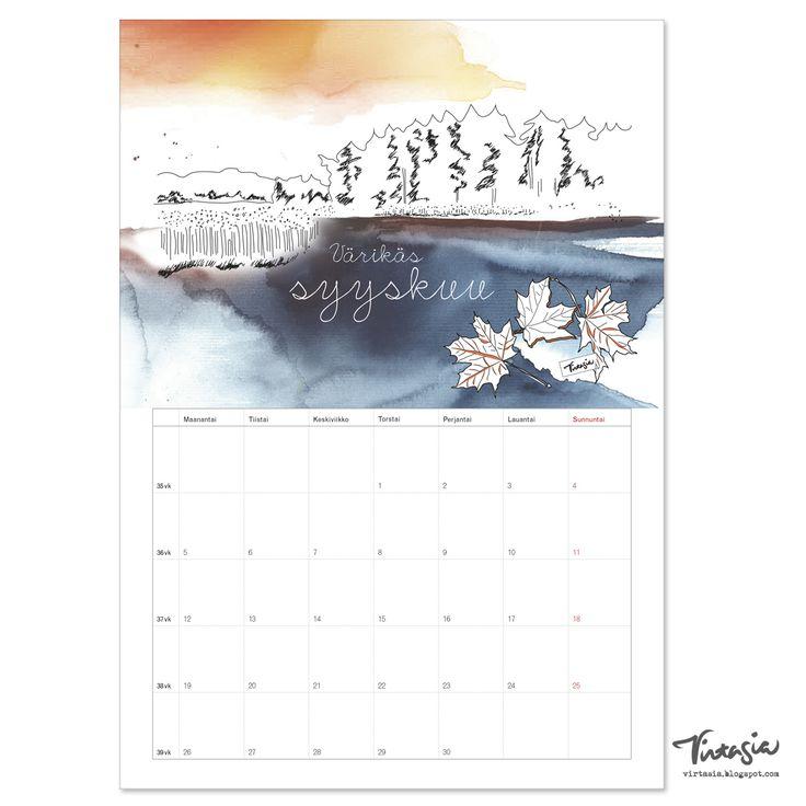 Ilmainen tulostettava syyskuun 2016 seinäkalenteri #ilmainen #tulostettava…