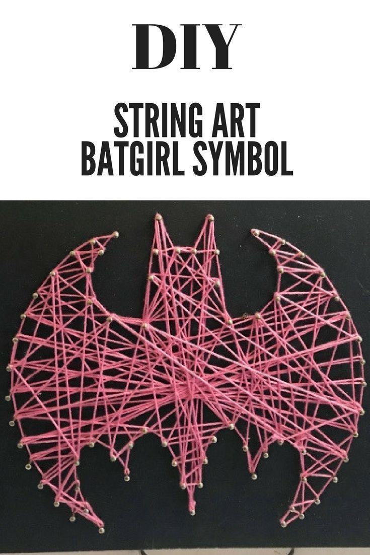DIY String Art Batgirl Symbol #diy #craft #batgirl #stringart #diycrafts