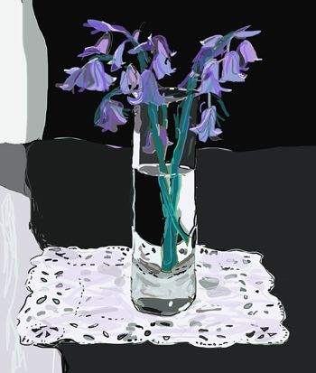 Bluebells in a glass. Kathy Lewis. Digital art. iPad painting, flowers