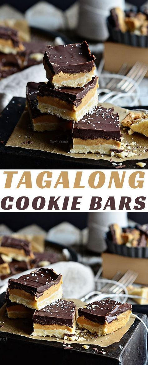 Enjoy this Girls Scout Cookie favorite any time! Copycat Tagalong Cookie Bars is the must have recipe for any peanut butter patty lover! recipe at TidyMom.net