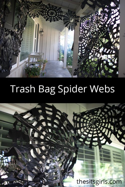So here's a real affordable, frugal Halloween idea – have you ever thought to turn Trash Bags into Spider Webs? We haven't either but I juts love this idea and how it transforms the porch! More Boo-tiful Porch Halloween Ideas and Patio Inspiration on Frugal Coupon Living.