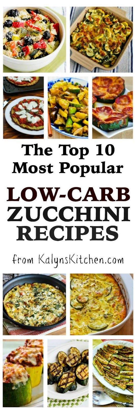 Out of more than 100 tasty zucchini recipes on my blog, these are The Top Ten Most Popular Low-Carb Zucchini Recipes from KalynsKitchen.com; these recipes combined have been viewed over 8 Million times on the blog! The recipes are also all gluten-free and South Beach Diet friendly; enjoy!