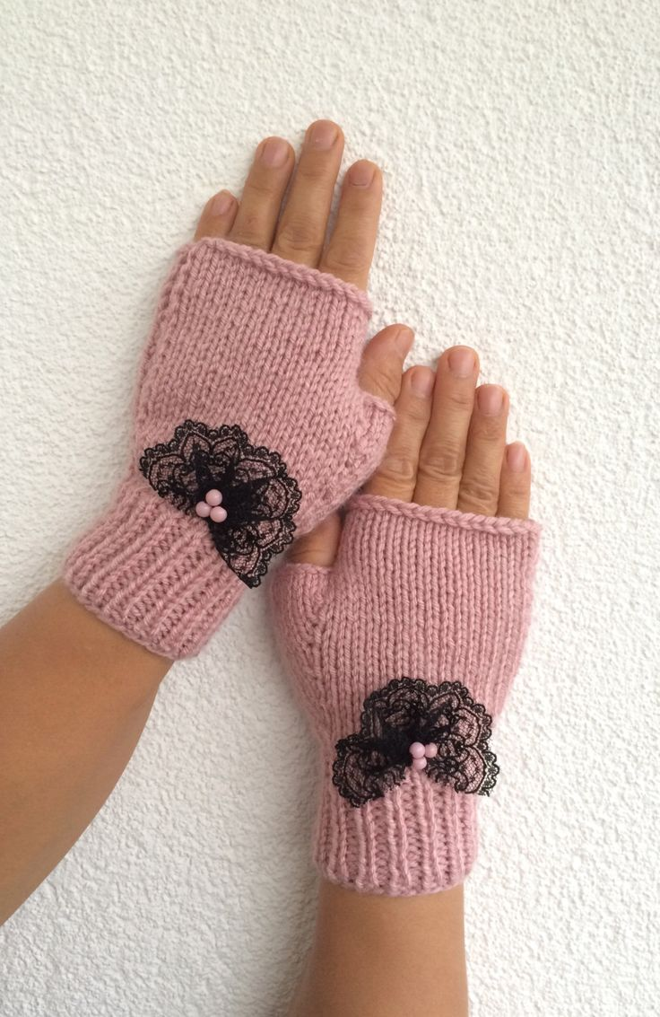 Pink Fingerless Gloves Lace Embroidered Pink Beads Mittens Handknit Gloves Handwarmer Winter Fashion Nicknacky (22.90 USD) by NickNacky