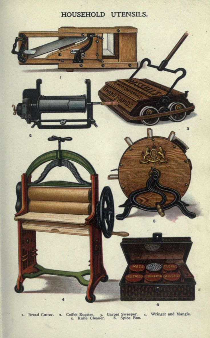 Household Utensils:   Includes (top to bottom): Bread cutter, coffee roaster, carpet sweeper, knife cleanser, wringer and mangle, spice box.   [Mrs. Beeton's Book of Household Management: A Guide to Cookery in all Branches. 1907.]