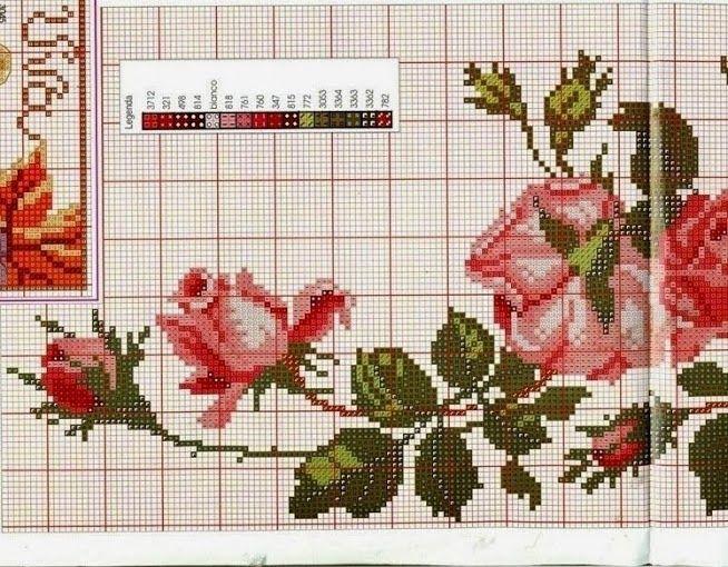 Amor-Perfeito-Amor: Toalha de mesa em ponto cruz - rosas