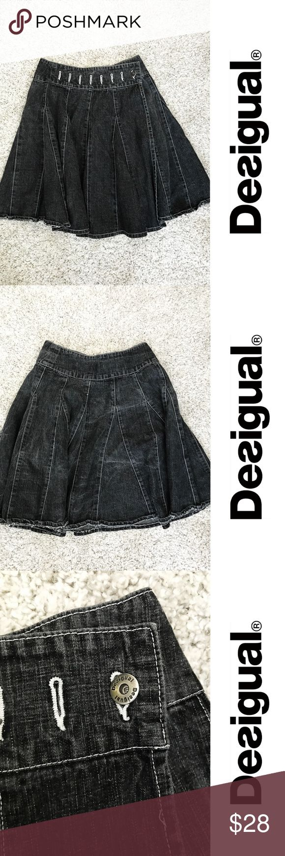 "Desigual denim skater skirt - gray - size Medium Super cool Desigual denim skirt - size 38 (spain) - in excellent condition!  Measurements: Waist: 30"" Length:23"" Desigual Skirts A-Line or Full"