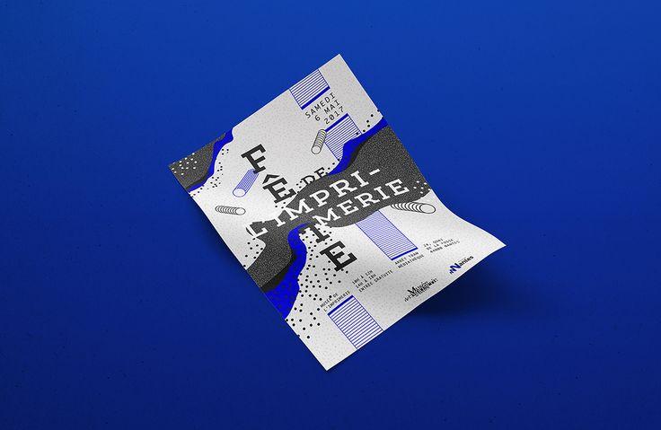 Motifs, pattern, poster, affiche bichromie, grey and bue. Gris et bleu. Fête de l'imprimerie, Nantes, France. Graphic design.... Manon Bougeard on Behance