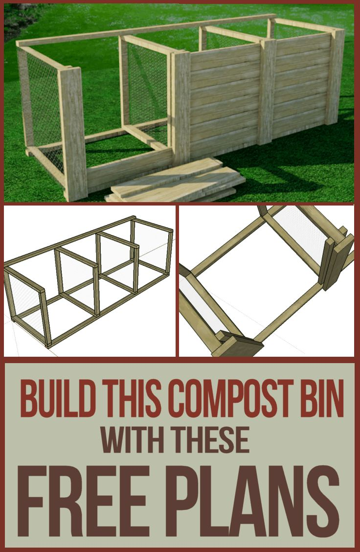 Download the complete plans to build this 3 bay compost bin for your garden and strat making your own compost.