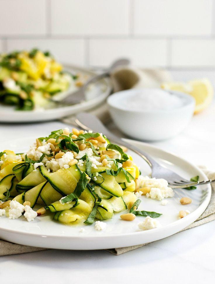 Zucchini Salad with Lemon, Feta and Pine Nuts