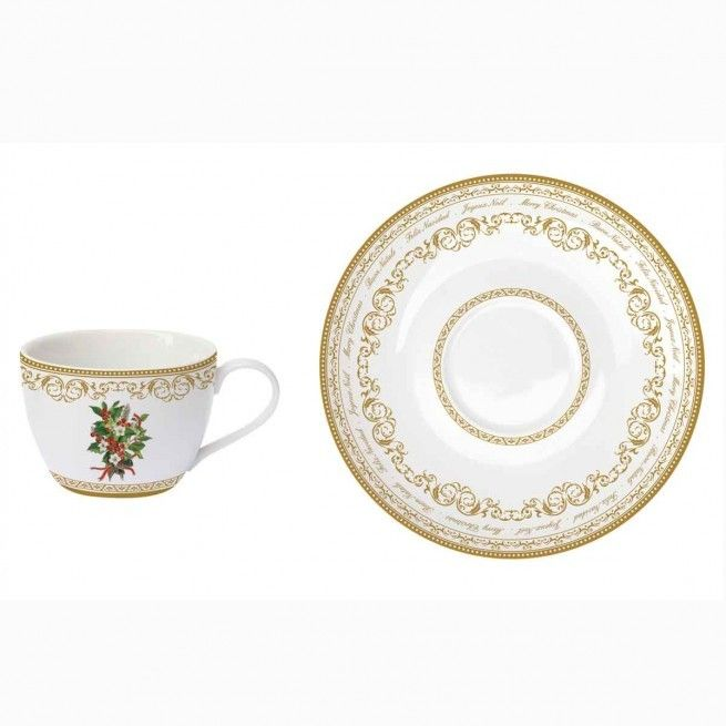 Εορταστική πρόταση για σας που τα Χριστούγεννα έχουν χρώμα. Για τον καφέ ή το τσάι , 2 φλιτζάνια με τα πιατάκια τους από φίνα πορσελάνη, με χρυσή μπορντούρα και διακριτικό σχέδιο με γκι. Χωρητικότητα: 240ml.