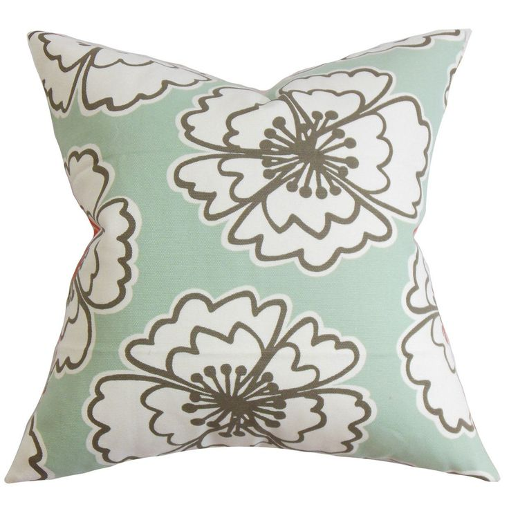 "Vina Floral 24-inch Down Feather Throw Pillow Sea Green (24"" x 24""), Multi, Size 24 x 24"