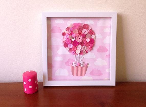 Button Art  Pink Girl 3D Art  Hot Air Balloon Nursery by quebee, $30.00