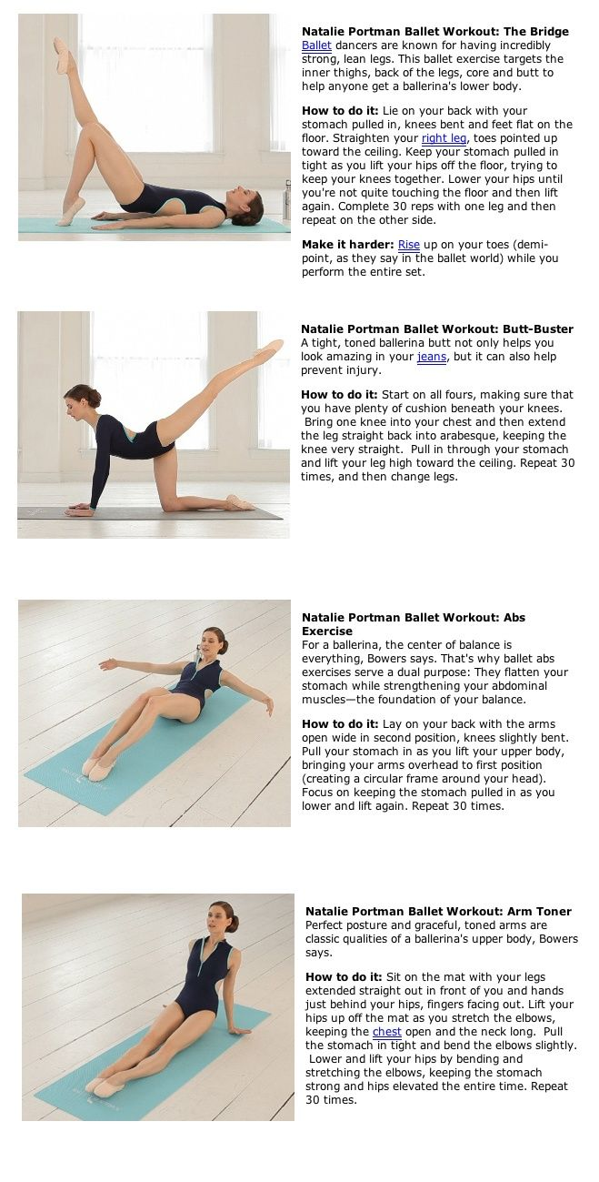 Natalie Portman Ballet Workout - Check out Natalie Portman's workout while working on the Black Swan movie. Great tutorial pin! ♥ If you enjoyed my pin, pls do visit my celebrity site at www.celebritysizes.com ♥ #natalieportman #balletworkout #blackswan