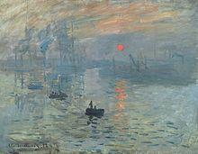 """IMPRESJONIZM>(fr. impressionisme < łac. impressio 'odbicie', 'wrażenie') – nurt w sztuce europejskiej. Najbardziej charakterystyczną cechą malarstwa i rzeźby impresjonistycznej było dążenie do oddania zmysłowych, ulotnych momentów – """"złapania uciekających chwil"""". Nazwa kierunku została ironicznie nadana przez krytyka sztuki oraz dziennikarza Louisa Leroy i pochodzi od tytułu obrazu Claude'a Moneta Impresja, wschód słońca."""