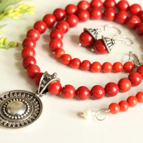 Ethnic Artisan Red coral  gemstone  beaded necklace earring set