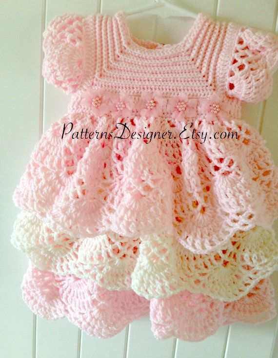 c16f1329c PT014 3-12 Months Crochet Baby Layers Dress Baby Dress