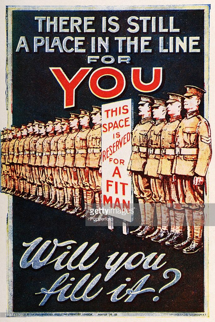 A British Army recruitment poster during World War One, circa 1915.