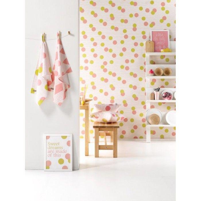ROOMblush behang confetti roze, groenblauw, bruingrijs, oranjegroen