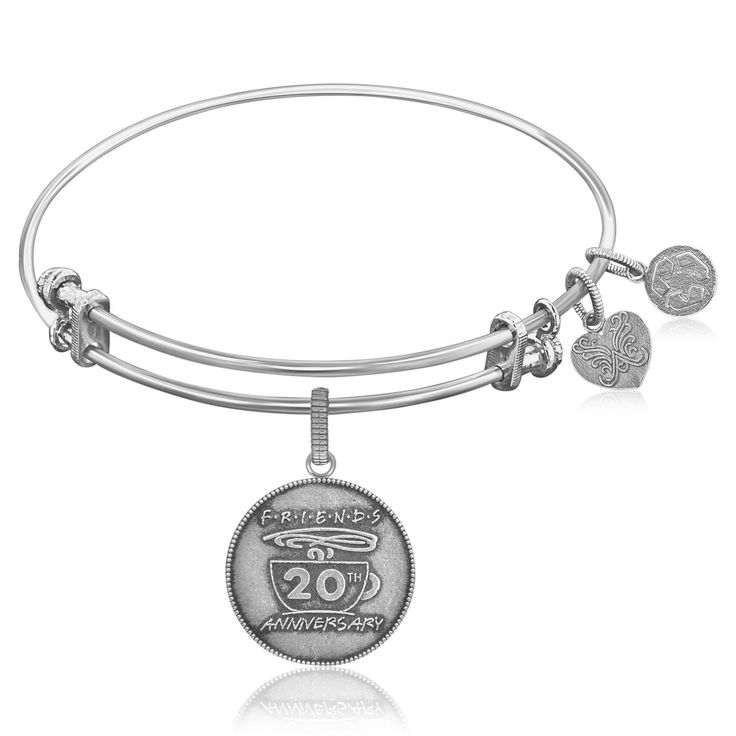 Expandable Bangle in White Tone Brass with Friends 20th Anniversary Symbol