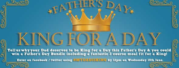 Tell us why your dad deserves to be King for a day this Father's Day & you could win a #FathersDay Bundle AND a 3 Course Meal Fit for a King!  Just enter by commenting on Facebook (/DaniloCalendarsUK)or on Twitter @CalendarsUK using ‪#‎MYDADISKING‬ by 12pm Wed 15th June. See all Terms & Conditions at http://bit.ly/FDayTerms
