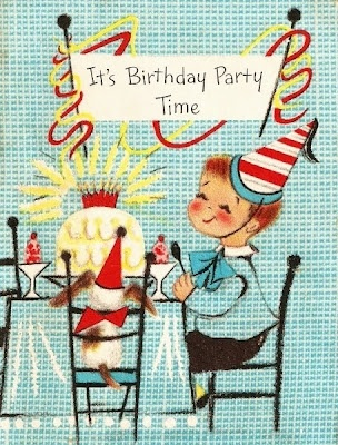 Vintage birthday party invitation.