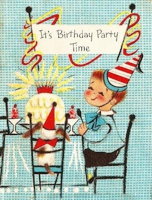 Vintage birthday party invitation.